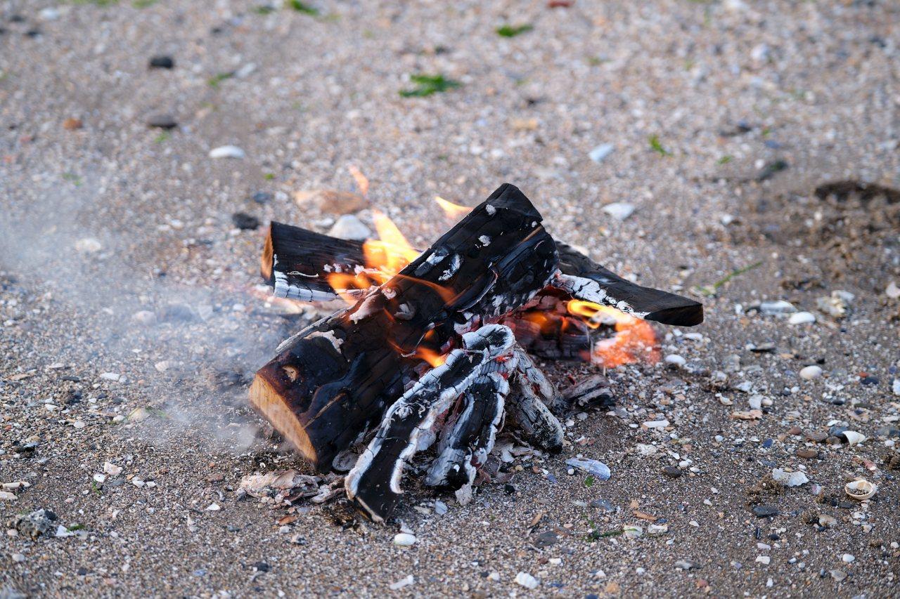 A Fire on the beach at CramondIsland